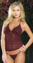 2 Piece Ruched and Sequined Mesh Cami Set