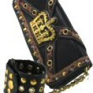 Crown Design Leopard Trim Bag with Chain - Bracelet - Straps