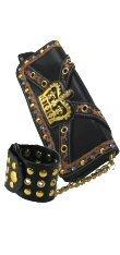 Crown Design Leopard Trim Bag with Chain - Bracelet - Straps
