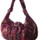 Sequin Velvet-Like Handbags with Knotted Strap and Flower Print
