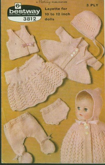 """Knitting pattern for dolls 6 piece outfit 10 -12"""" dolls Bestway 3812 PDF"""