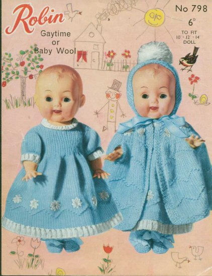 """Knitting pattern for Dolls outfits 10"""" -14"""" Robin 798 PDF"""