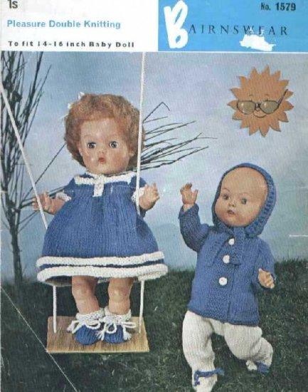 Vintage knitting pattern for dolls/reborns. Bairnswear 1579