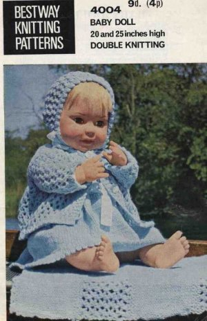 Vintage knitting pattern for dolls/reborns. Bestway 4004