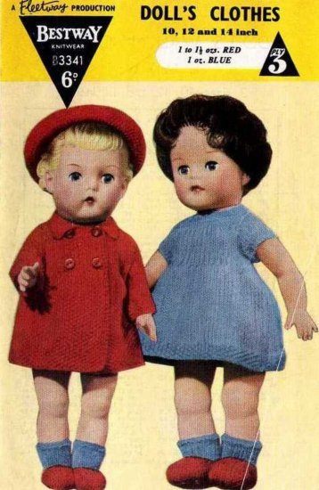 Vintage knitting pattern for dolls outfits Bestway 3341. PDF