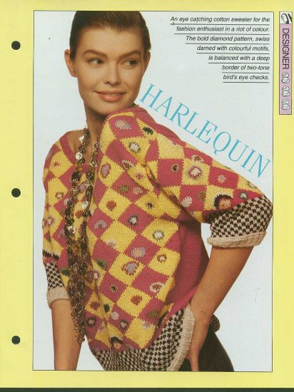 Knitting pattern for ladies eye catching Harlequin pattern sweater riot of colour