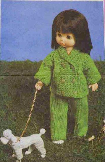 Knitting pattern for 14in dolls trouser suit. PDF
