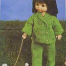 Knitting pattern for 14in dolls trouser suit. PDF