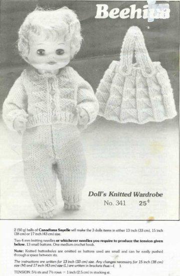 Knitting pattern for 13 - 17 in dolls wardrobe. PDF