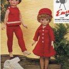 Vintage knitting pattern to fit 20in Teenage doll. Emu 6118 PDF