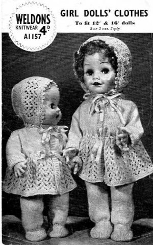 Vintage knitting pattern for 12 and 16 in dolls. Weldons A1157. PDF