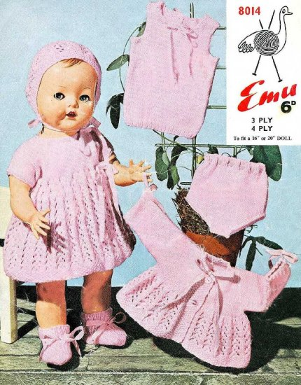 Vintage knitting pattern for baby dolls/reborns. Emu 8014