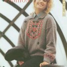 Knitting pattern for Ladies jumper with embroidery at yoke and a collar
