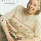 Knitting patterns for Ladies jumper with a picot edge & cross stitch embroidery