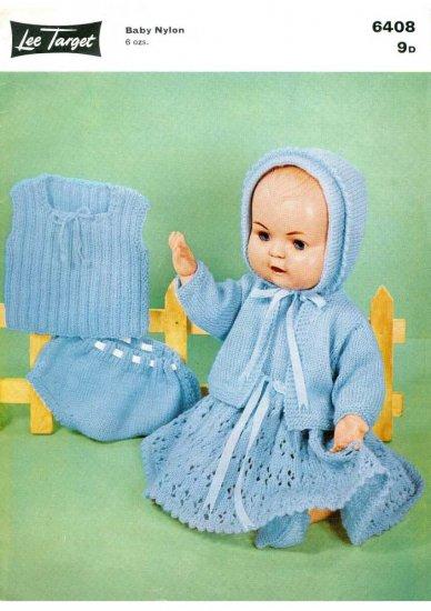 Vintage knitting pattern for dolls/reborns. Lee Target 6408