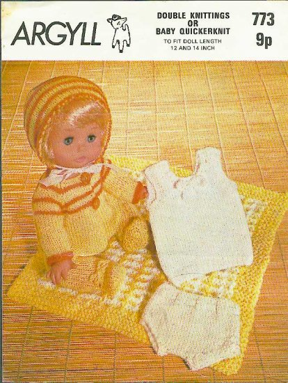 Vintage knitting pattern for dolls layette 12 - 14in dolls Argyll 773