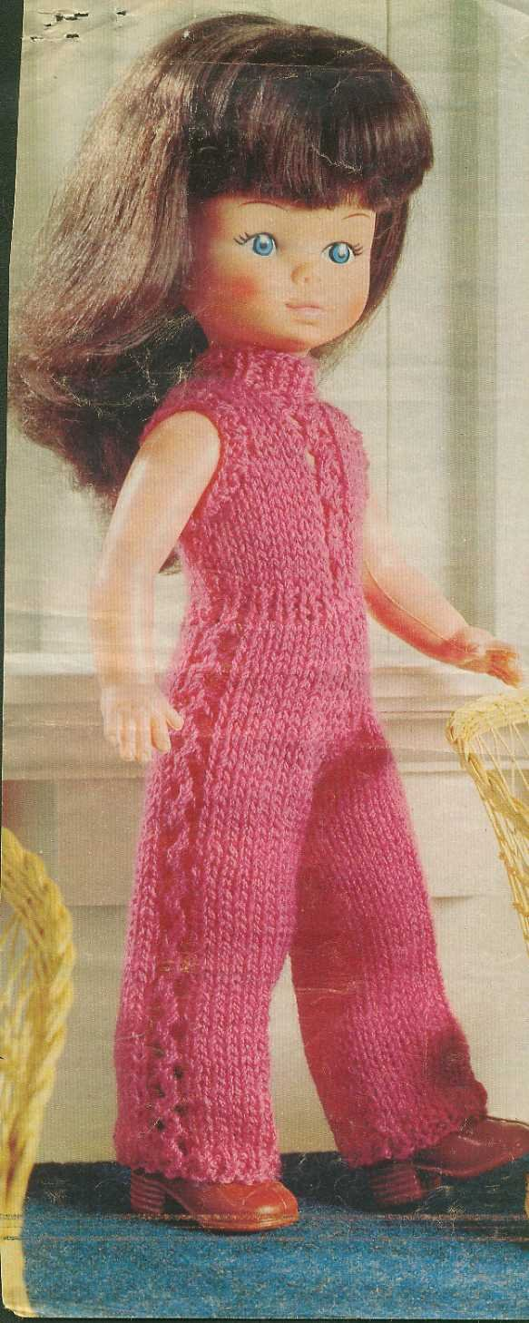 """Knitting pattern for 12"""" dolls catsuit. From a magazine, PDF"""