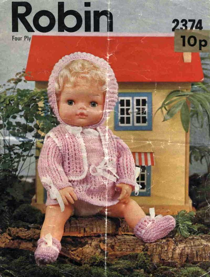 Vintage doll knitting pattern for 15inch dolls Robin 2374 PDF