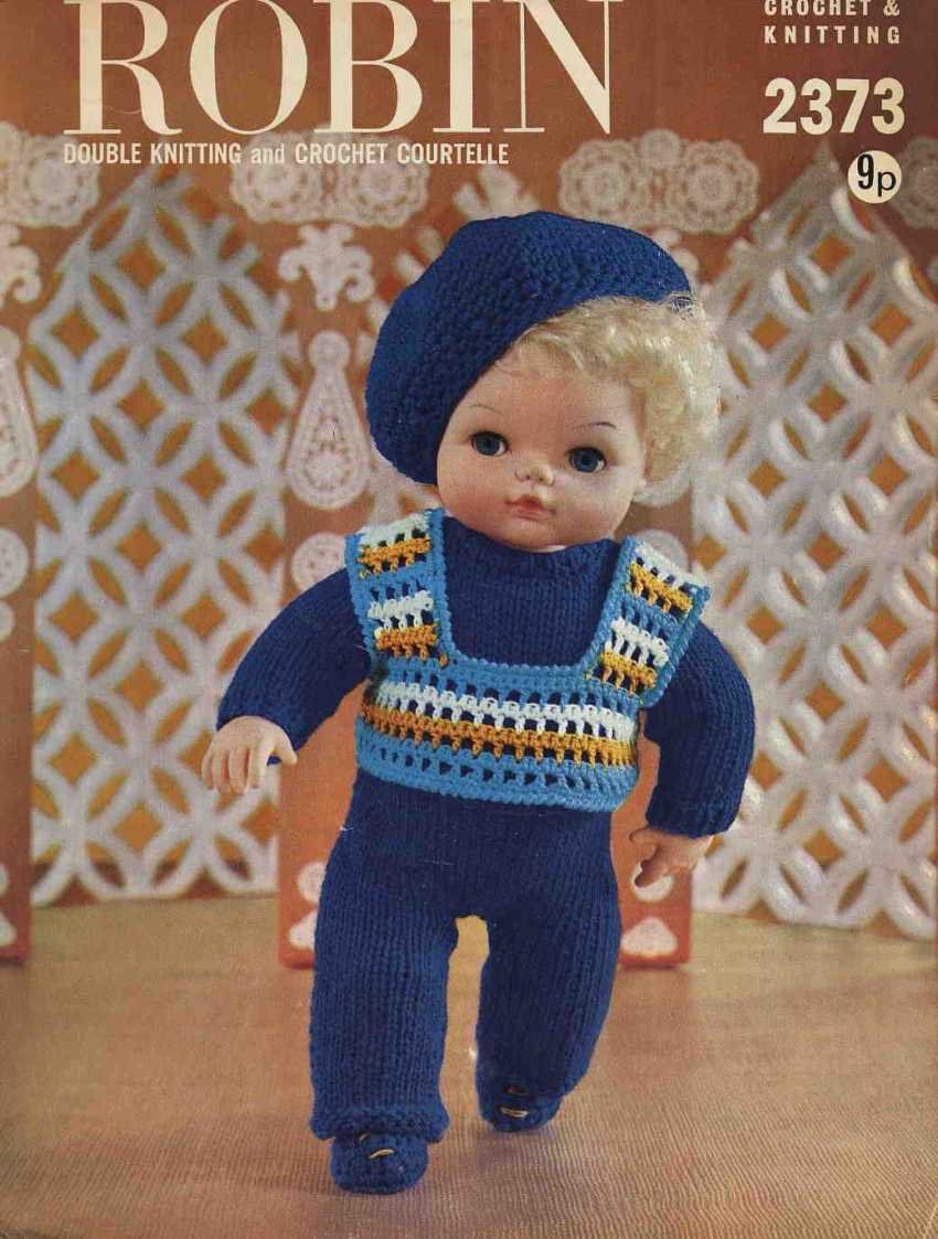 Vintage doll knitting pattern for 15inch dolls Robin 2373 PDF
