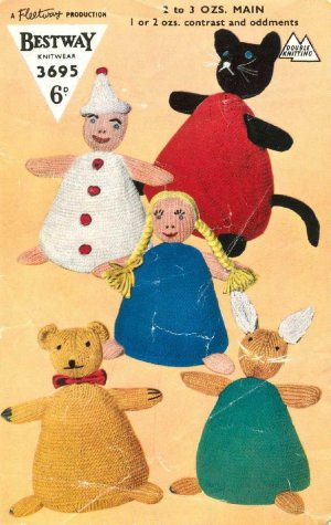 Vintage knitting pattern to make 5 Unusual style toys Bestway 3695