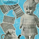 Vintage knitting pattern for Dolls outfit, scarf, tea cosy, purse & pot holder.