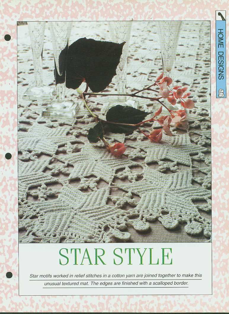 Crochet pattern for unusual textured mat using star motifs worked in relief st