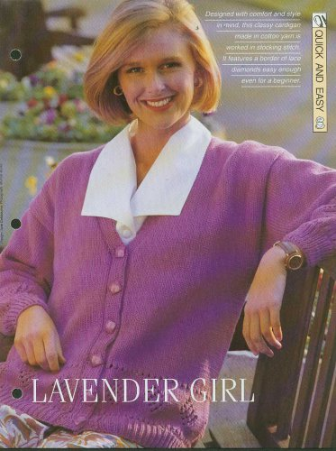 Knitting pattern for Ladies classic cardigan with a border of lace diamonds