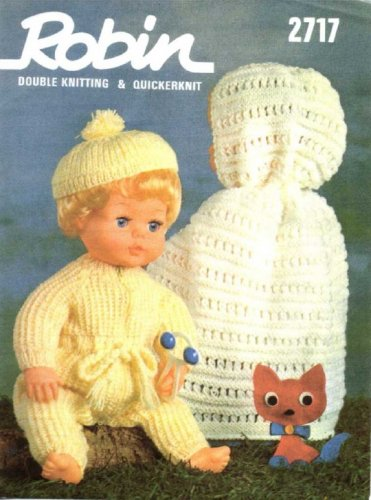 "Vintage doll knitting pattern for 16"".41cm Tiny tears dolls/reborns. Robin 2717"