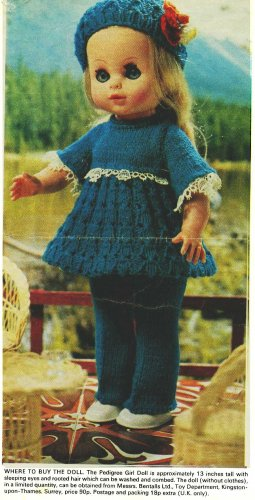 "Vintage Knitting pattern for 13"" 33cm dolls.From a magazine. Dress trousers hat. PDF"