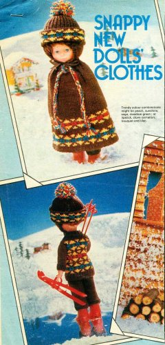 """Vintage Knitting pattern for 12"""" 31cm dolls.complete Skiing outfit. PDF"""
