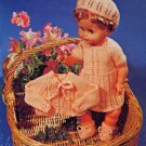"Vintage Knitting pattern for 20"" 51cm tall dolls. Dress, jacket, cap and booties"