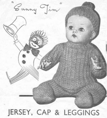 "Vintage knitting pattern for boy dolls/reborns. Sunny Jim. 10"" - 16"" 26 - 41cms. PDF"