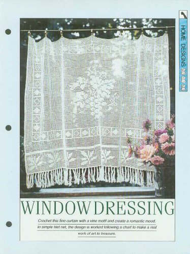 Crochet pattern for filet net curtain with a central vine motif and leaf border
