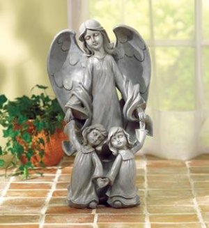 Angel with Two Kids Statue - sheltering angel and children