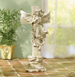 Angelic Cross Statue - beautiful cross and angel - detailed angel symbol