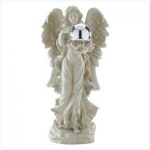 Angel with Gazing Ball - beautiful polyresin angel and gazing ball