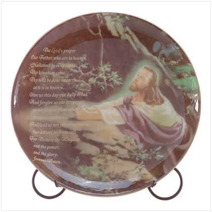 Lord's Prayer Decorative Plate - Jesus in worship - Lord's Prayer