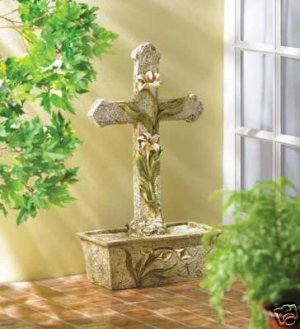 Cross and Lily Fountain - beautiful cross & lily water fountain