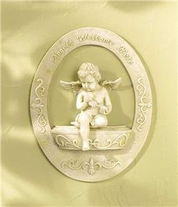 Cherub Welcome Plaque - European Decor - Cherub Welcome