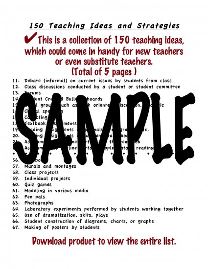 150 Teaching Ideas for New or Substitute Teachers