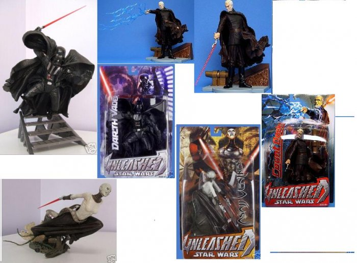 Star Wars Saga Unleashed Lot Statue Figure Set rots/aotc Sith