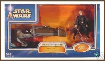 Star Wars Saga AotC 2003: Darth Tyranus' Speeder Bike w/Dooku EP2 NIB, not mint