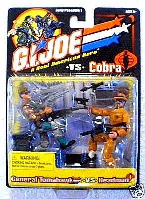 """Hasbro GI Joe vs Cobra 57470: General Tomahawk Headman 2-Pack 2002 arah 20th 3.75"""""""