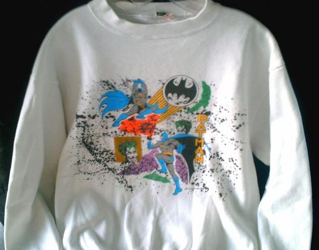 Vtg 80s 90s Batman & Joker '89 DC Comics Dark Knight Sweat Shirt, Ugly Sweater Style jumper L-XL
