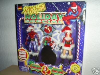 Spider-Man Peter & MJ Marvel 2 Figure Gift Pack + Ornament Set Mary Jane Santa-Xmas Gift-Toybiz 1997