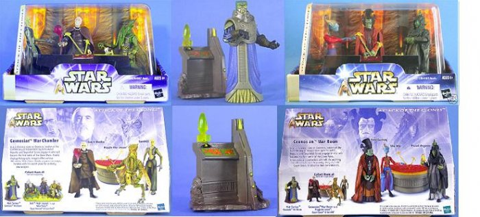 Star Wars Battle of Geonosis Chamber Room diorama complete set 2003 Target Saga AotC 3.75""
