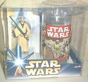 Obi-Wan Kenobi Figure & Cup Set, 2004 Star Wars (ANH) Vtg Coca-Cola Glass (1977) Burger King