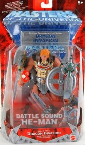 200x MOTU Battle Sound He-Man Gold Armor MoSC+VHS | 2002 Mattel Masters of the Universe Classics