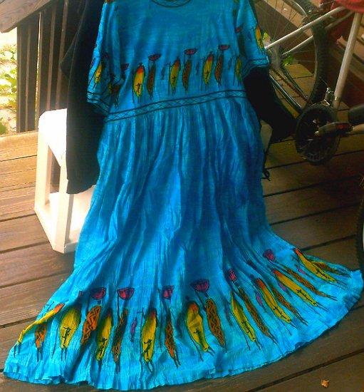 Blue Sundress Dress Skirt [India Tribal] Casual | Vintage Women's Clothing | cosplay larp