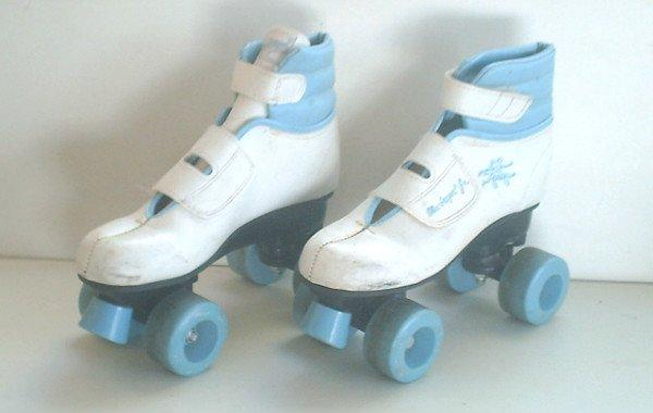 Quad Roller Skates Girls / Women Sz 3 Kids Velcro (Vintage) VGC